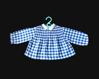 Vintage 60's Blue Checkered Shirt Made in France 6-9 Months