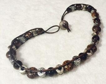 Tribal Beaded Leather Cord Double Wrap Bracelet