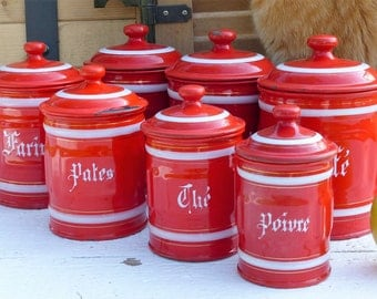 Vintage Enamelware Kitchen Canisters. (Set of 7) Granite ware Kitchen Canisters. Red & White Kitchen Canister Set. FRENCH VINTAGE