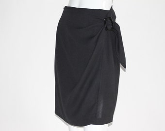Vintage Women's Black Knee Length Skirt with Decorative Adjustable Front Flap - PENCIL Skirt with Liner - Size MEDIUM
