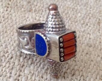Vintage Coral Lapis Ring