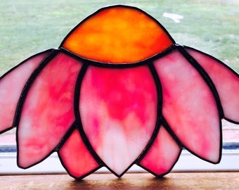 Stained Glass Echinacea Flower, Coneflower, Pink, Hand Made by Sunbeam Glass Creations