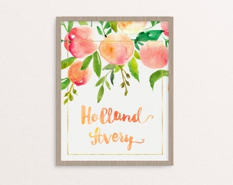 Peach Nursery Name Print