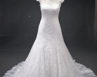 Lace Cap sleeve white wedding dress