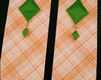 Orange Plaid Bookmark with Green Diamond