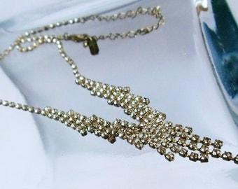 Vintage Art Deco Crystal Necklace, Rhinestone Silver Tone V-shape Crystal Necklace, Rhinestone Jewelry, Estate Jewelry, 1950's