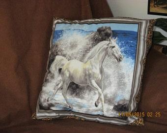 White horse pillow
