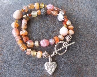 One of a kind beaded wrap bracelet