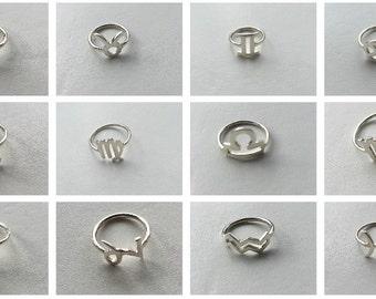 Horoscope Zodiac Ring,Zodiac Sign Ring,Astrology Jewellery,925 Sterling Silver