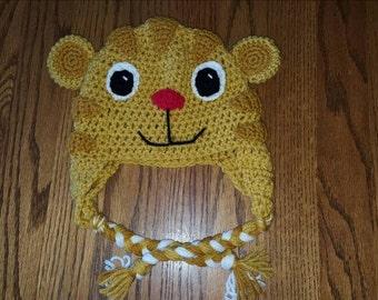 Sale! Reg price 35 Daniel Tiger earflap hat - Daniel Tiger - Daniel Tiger's Neighborhood - pbs - character hat - children's hat - tiger