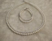 White Mother Of Pearls Necklace Bracelet Set 4-5mm  bridesmaids gift, mothers day, birthday present!