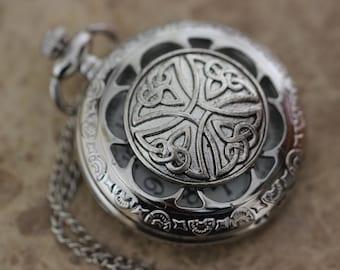 Celtic Knot Pocket Watch Necklace