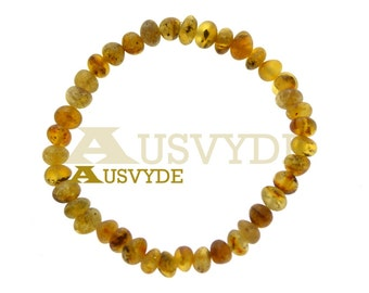 Baltic amber raw green bracelet | Baltic amber bracelet | Raw Amber | Unpolished Amber | For Adults | 18 cm (7,1 inch) ~6,6 mm 5428