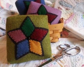 Green Folk Art Pin Cushion, Five Star Pin Cushion, Green Felt Pin Cushion, Stained Glass Star Pin Cushion, Folk Art Star Pin Cushion,Pinkeep
