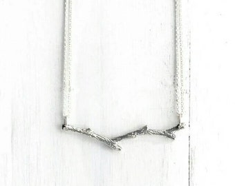 Silver Branch Necklace - Twig Necklace - Pendant Necklace - Tree Branch Necklace - Minimalist Necklace - Valentine's Day