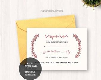 Wedding rsvp, wedding template, printable rsvp, rsvp, response card, printable wedding, rsvp card, rsvp template, floral, leaf, branch, 36