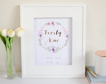 Baby Girl Floral Custom Name Print or Birth Announcement - Rose Gold Foil and Watercolour