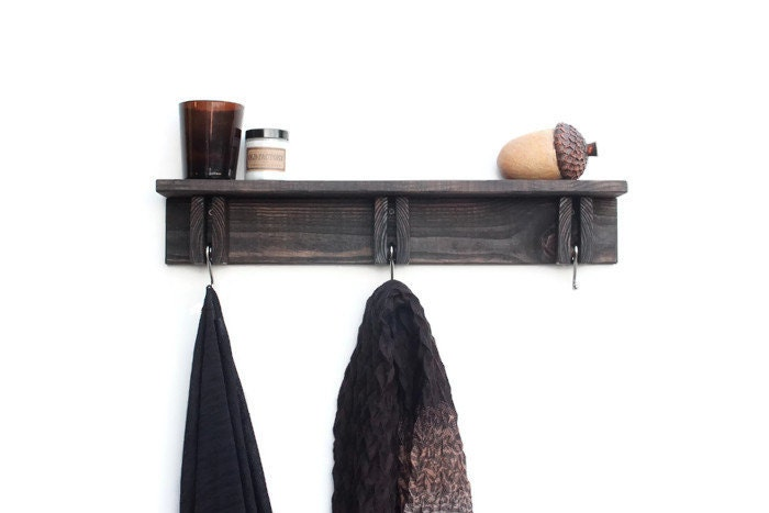 Wall Coat Hooks rustic shelf repurposed wood shelf rustic coat hooks wall