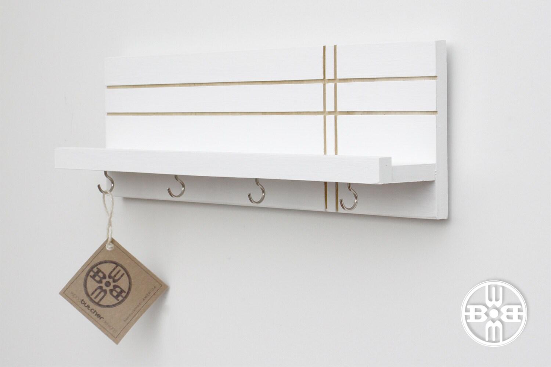 key rack shelf with hooks key holder for wall key hooks. Black Bedroom Furniture Sets. Home Design Ideas
