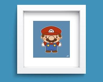 ArtPrint 8x8 - Super Mario Nursery Children's Wall Art - Super Mario Original Wall Print - Chibi Video Game Art