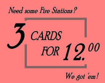 3 Fire Hall Cards @ 12.00 // Toronto Fire Station Art & Architecture, Firefighter gift, Toronto Fire House History, For Architect or Planner