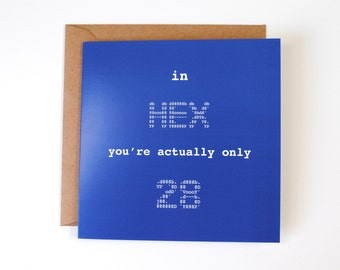 40 years old in hex is only 28! Happy Birthday Greeting Card - Geek Greeting Cards - Funny Greeting Cards