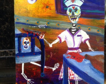 "Dia de los Muertos ""Silent Night""  night nurse Mexican folk day of the dead"