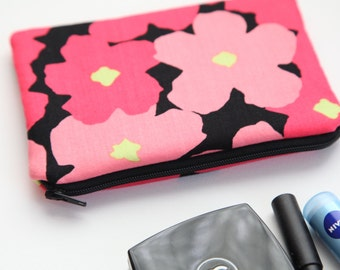 Pink Flowers Makeup Bag, FREE SHIPPING with another purchase, Makeup Case, Makeup Pouch, Small Purse, Zippered Purse, Cosmetic Case Bag