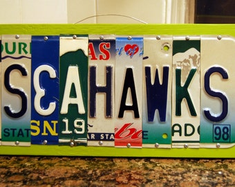 SEAHAWKS - Seattle Seahwawks football license plate sign