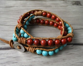 Triple Wrap Bracelet BOHO Beaded Bracelet Blue turquoise and Red Natural Stone Beads Bracelet 3 Rows Yoga Bracelet Bohimian Jewelry SL-0091
