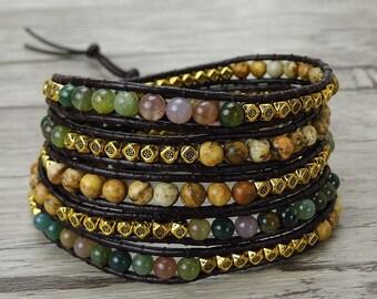 5 wraps bracelet India agate bead bracelet bead wrap bracelet Chic leather wrap bracelet BOHO leather bead bracelet bead Jewelry SL-0378