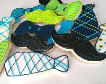 Neck tie cookies,bow tie cookies,mustache cookies,boy baby shower, boys baptism cookies , baby boy birthday party,father's day,sugar cookies