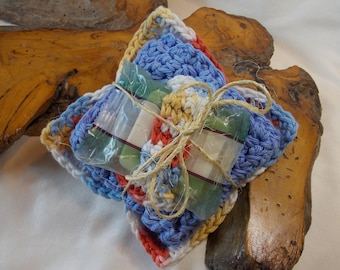 Country blue/yellow/cream/rust 4pc 100% Cotton Spa Set: Hand-crocheted facecloth, face scrubbie, makeup remover cloth, and travel soap