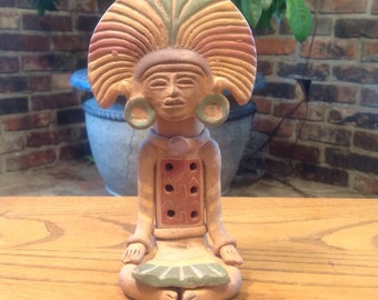Vintage Flute Whistle Clay Mayan Aztec