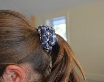 Blue plaid scrunchie