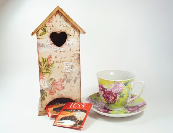 wooden tea bags holder memories tea house box by kindwhitecat. Black Bedroom Furniture Sets. Home Design Ideas