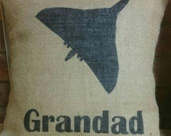 Hessian vulcan aeroplane Grandad grandpa name cushion cover jute burlap