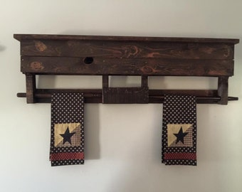 """Towel bar. Can be stained other colors as requested. Top has shelf that measures over 40""""."""