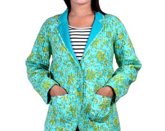 Green Floral Quilted Coat Jacket