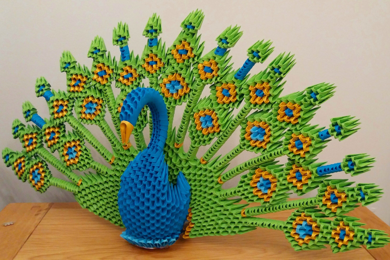 3D origami peacock - photo#38