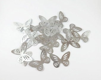 Silver Butterfly Confetti, Table Decor, Paper Butterflies, Party Decor, card making, Butterfly cake decor, Baby Shower Decor