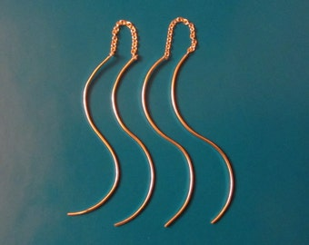 Sterling Silver 'S' Curve Threader Earrings