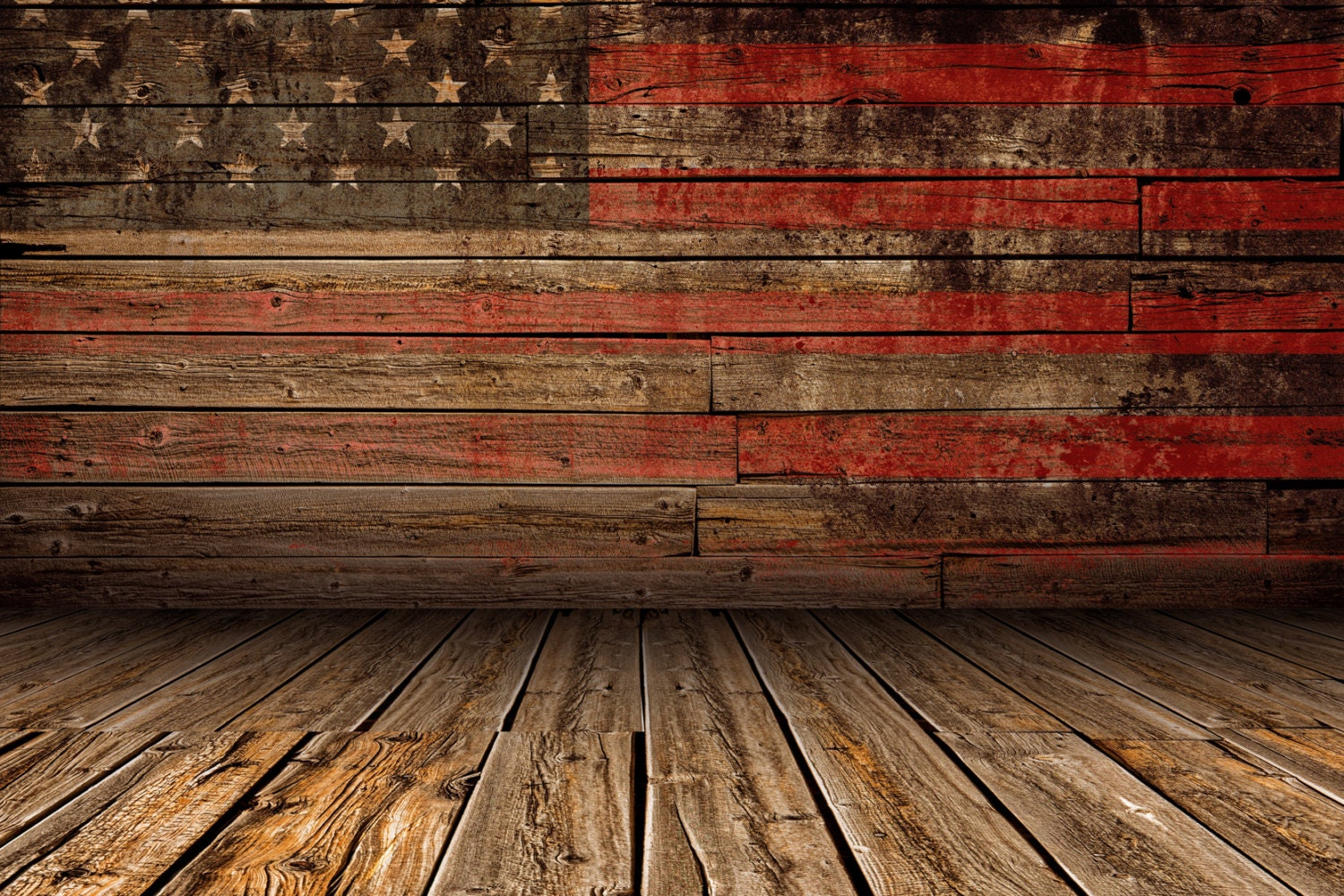American Flag Wood Backdrop Patriotic 4th Of July National