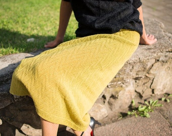 Knitted skirt in yellow-green color