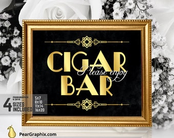 Cigar Bar Sign, Gatsby Wedding Printables, Great Gatsby Party Supplies, Gatsby Theme Roaring 20s Party Decorations Great Gatsby Decorations