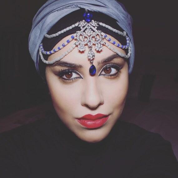 Indian Wedding Headdress: Silver Headdress Kundan Indian Headwear Blue By