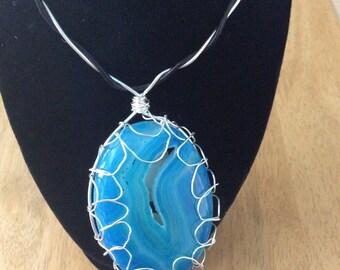 Large blue druzy agate pendant