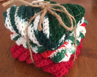 Crocheted Christmas Washcloths - Packs of 3