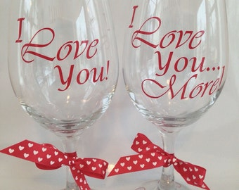 Engagment, Valentines Day, Valentine, Engagement Gift, Anniversary Gift, Gift for Couples, I Love You, Personalized Wine Glasses