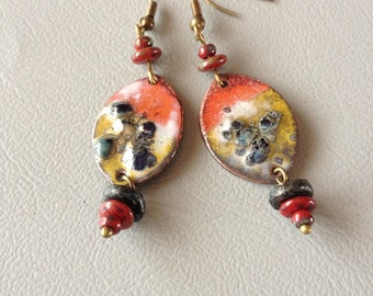Bohemian and rustic earrings, copper enamel and glass of Bohemia.